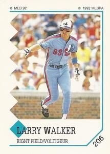 1992 Panini Stickers Canadian #206 Larry Walker Front