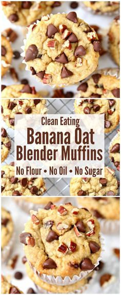 Banana Oatmeal Blender Muffins - a skinny muffin recipe with no flour, sugar or oil.  The perfect breakfast and snack recipe! #cleaneating #breakfast #muffinrecipe