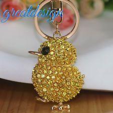 Kr127 Yellow Crystal Handbag Charms Animal Keychain Keyring Jewelry Gift Handbags