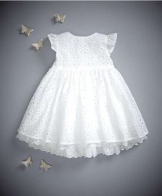 Mamas & Papas - Broderie Anglaise Dress - Welcome To The World - £35