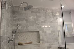Our master bathroom has been done for months, but I finally got around to taking finished photos and now it's time to share! This is the last of the four bathrooms we have remodeled/built in … Glass Bathroom, Bathroom Renos, Bathroom Wall Decor, Bathroom Flooring, Master Bathroom, Bathroom Ideas, Tile Flooring, Bath Decor, Bath Ideas