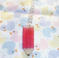 Pink Pencil Necklace  Shrink Plastic by NiNEFRUiTSPiE on Etsy, £2.00