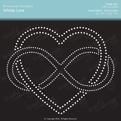 This listing is for our Infinite Love Rhinestone Template. Note: This listing is a digital product, NO PHYSICAL FILE will be sent.  ~ ~ ~ ~ ABOUT THIS TEMPLATE ~ ~ ~ ~ A) The design size is 7.89 w x 6.38 h  B) Stone sizes: ss6 and ss10  For most of our artwork, other design and stone sizes can be created upon request, please convo us for details.  ~ ~ ~ ~ FILE FORMATS INCLUDED ~ ~ ~ ~ The following file formats will be provided [in a zip file] as a download...