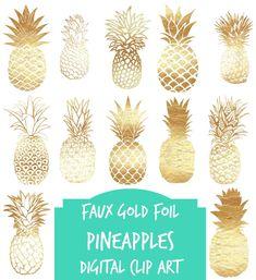 Digital clip art  Gold pineapples instant download
