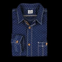 Journal Standard Old Dot Print New 2 Pocket Work Shirt in Navy Angle2