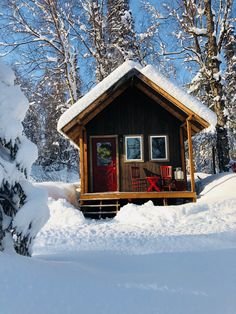 Cabin in the wood. Wintertime