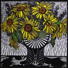 Sunflowers by Gail Kellett, 65cm w x 65cm h