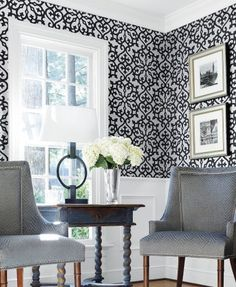 Allison Black (T35177) - Thibaut Wallpapers - A large scale symmetrical geometric design with a Moroccan feel with a hand painted effect. Shown in the black on matt silver. Wide width. Pattern repeat 64cm. Please request sample for true colour match. This is an American wallcovering and will take between 7-10 working days for delivery.