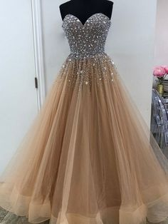 A-Line Sweetheart Champange Tulle Prom Dress with Beading by Hiprom, $186.00 USD