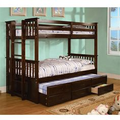 University Twin / Twin Bunk Bed with Twin Trundle & 3 Drawers
