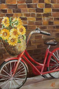 Oil Painting Flower Oil Painting Original Art Bike Painting Sunflowers Canvas Art Bicycle Painting Home Decor