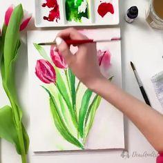 great Flower Painting, Flower Art Painting, Watercolor Flowers Tutorial, Amazing Art Painting, Creative Painting, Painting Art Projects, Canvas Art Painting, Watercolor Paintings For Beginners, Diy Canvas Art