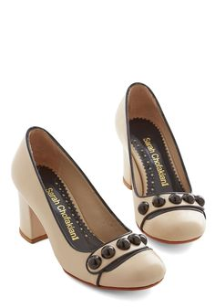 Inspire Aspirations Heel. Your many accomplishments and posh professional attire, which includes these slick beige heels by Sarah Chofakian, truly motivate your colleagues to achieve your level of success. #cream #modcloth