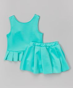 Look at this Teal Peplum Tank & Skirt - Toddler & Girls on #zulily today!
