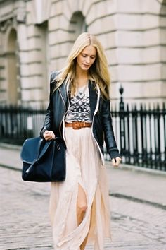 long skirt with leather crop