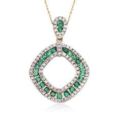 """Ross-Simons - 1.35 ct. t.w. Emerald and .80 ct. t.w. White Zircon Open Pendant Necklace in 14kt Yellow Gold. 18"""" - #849898"""
