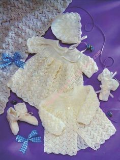 Baby Set - Dress Jacket Shawl Bonnet Bootes & Mitts in 3 ply  Premature to 6 months -  PDF of Vintage Knitting pattern - Instant Download