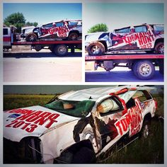 Damage to our Tornado Hunt SUV & it bring towed after being tossed 200 yards by a tornado in El Reno, OK. June 2013