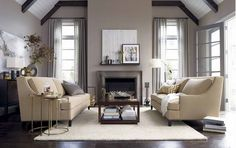 grey interior paint ideas | Grey Brown Paint Color for Drapery With Interior Design