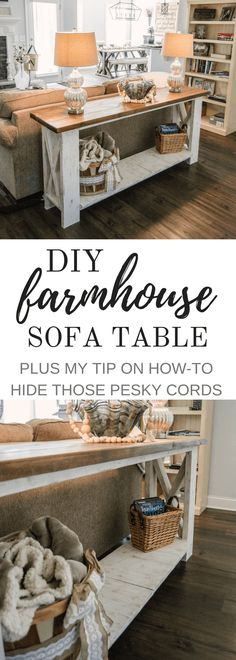 Handcrafted Farmhouse Sofa Table (Plus My Tip on How-To Hide Cords!) - Handcrafted Farmhouse Sofa Table (Plus My Tip on How-To Hide Cords!) Handcrafted Farmhouse Sofa Table (Plus My Tip on How-To Hide Cords! Farmhouse Sofa Table, Rustic Sofa Tables, Rustic Farmhouse Furniture, Diy Sofa Table, Diy Furniture Couch, Furniture Ideas, Farmhouse Chic, Sofa Table Styling, Outdoor Furniture