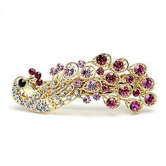 aleación preciosa con diamantes de imitación de la boda del pavo real peine – EUR € 12.37