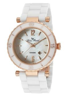 Lucien Piccard Women's La Tournette White MOP Dial Rose Gold Tone IP Case White Ceramic