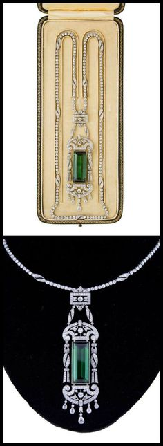 Another: If only I owned ONE piece!: Edwardian tourmaline and diamond necklace by Drecier and Co., circa 1915.