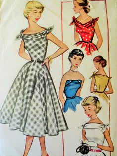 Vintage McCall's 9418 Sewing Pattern, 1950s Dress Pattern Strapless Dress, 1950s Sewing Pattern, Tie Straps Bateau Neck, Bust 33, Full Skirt