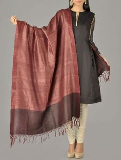 Tussar Inroads Russet Handwoven Silk Dupatta $50
