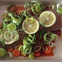 Pieczony łosoś z warzywami # łosoś