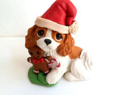 Cavalier King Charles Christmas Polymer Clay DOG sculpture by Raquel Torres Dog Christmas Ornaments, Polymer Clay Christmas, Clay Ornaments, Christmas Dog, Cavalier King Charles, King Charles Dog, King Charles Spaniel, Polymer Clay Animals, Polymer Clay Crafts