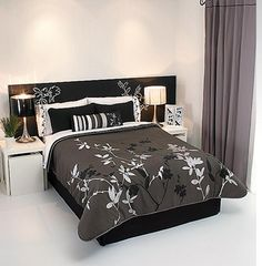 Black Gray Silver Comforter Sheets Bedding Set Full 9pc | eBay