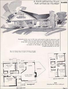 Mid Century House Plan House Drawings Floor Plan Vintage