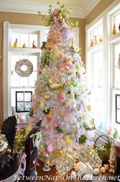 Easter Decor, Spring Decor, Easter Tree, Spring Tree by Ba Bam Wreaths Easter Tree Decorations, Easter Wreaths, Easter Centerpiece, Spring Decorations, Easter Art, Easter Crafts, Easter Ideas, Bunny Crafts, Easter Bunny