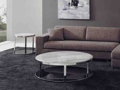 The Most Beautiful Design of White Round Coffee Table White Round Coffee Table, Marble Top Coffee Table, Steel Coffee Table, Round Side Table, Cool Coffee Tables, Coffee Table Design, Side Tables, White Coffee, Living Room Modern