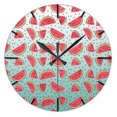 Teste padrão bonito das fatias e das sementes da relógios de paredes