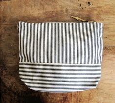 Cotton Ticking Zipper Pouch / Canvas Clutch / by THIMBLEandACORN