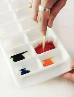 Homemade Watercolors  -1/2 cup baking soda  -1/4 cup cornstarch  -1/4 cup white vinegar  -1 teaspoon corn syrup  -Food coloring