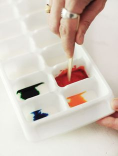 Homemade Watercolors  -1/2 cup baking soda  -1/4 cup cornstarch  -1/4 cup white vinegar  -1 teaspoon corn syrup  -Food coloring