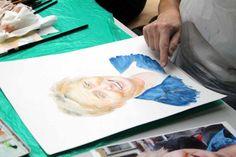 Portraitmalerei in Aquarell | Zwischenergebnis aus dem Kurs Grundlagen des Portraits in Aquarell (c) Frank Koebsch