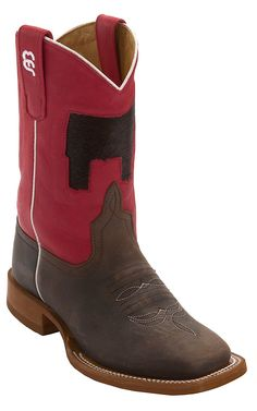 Better with a Shorthorn! Anderson Bean® Kid's Chocolate Oil w/ Red & Inlay Cowhide Steer Top Square Toe Western Boots | Cavender's Boot City