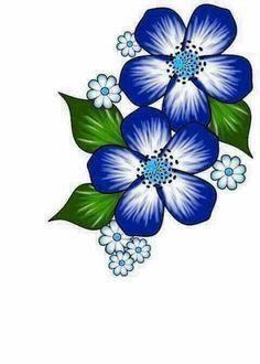 Flor Azul Flores Pintadas Dibujos De Flores Disenos De Flores