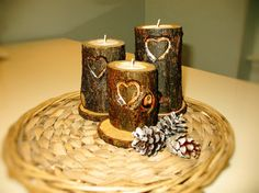 Dark wood Candle holder on stand Wooden candle от HippoAndRaccoon