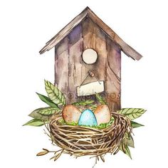 Easter Invitations, Easter Crafts, Bird Houses, Easter Eggs, Watercolor Paintings, Cool Art, Floral Wreath, Outdoor Decor, Decoupage
