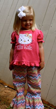 Girls Short Personalized Kitty Applique Shirt