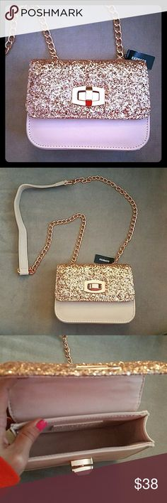 Rose Gold Glitter Crossbody Purse Brand new with tags, would make a great present. Chain and leather strap. Express Bags