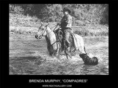 "Western Art by Brenda Murphy, ""Compadres"" Western Theme, Western Art, Graphite Art, Crayon Art, Native American Art, Cool Artwork, Art Sketches, Dog Cat, Art Gallery"