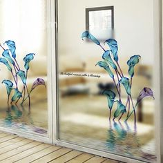Wonderful Blue Calla Lily Pattern Glass Wall Sticker on sale, Buy Retail Price Wall Stickers at Beddinginn.com