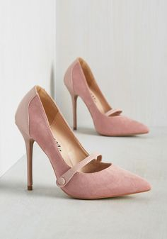 Feeling Pumped Heel in Powder Pink - Blush, Solid, Work, Daytime Party, Pastel, Colorblocking, Fall, High, Good, Mary Jane, Variation, Pink, Pastel