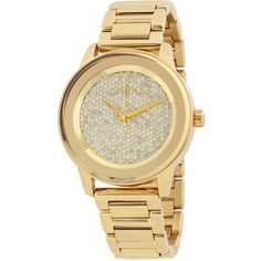 Open Box - Michael Kors Kinley Pave Gold-tone Ladies Watch ($325) ❤ liked on Polyvore featuring jewelry, watches, gold tone bracelet watch, michael kors watches, quartz movement watches, water resistant watches and gold-tone watches